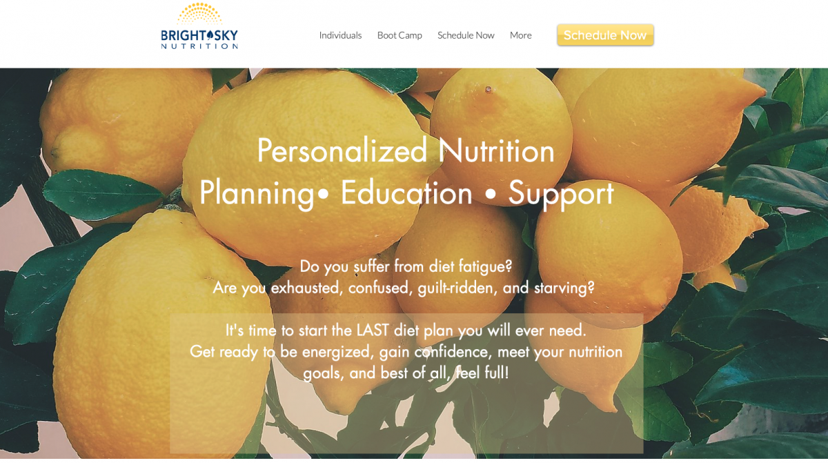Bright Sky Nutrition, Personalized Nutrition, Planning, Education, Support